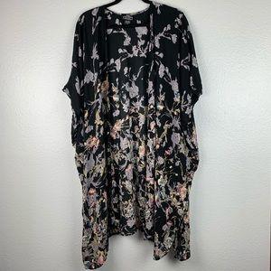 Angie Long Black Floral Kimono